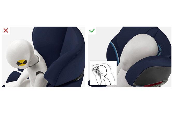 Patentierte, neigungsverstellbare Kopfstütze