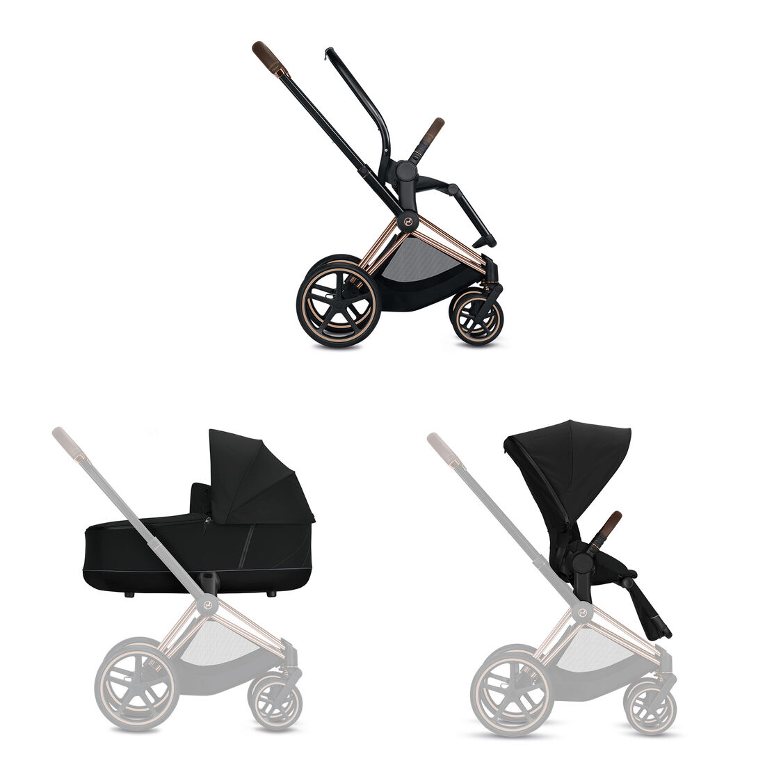 CYBEX Configure Priam Set: Frame, Lux Carry Cot, Seat Pack in  large image number 1