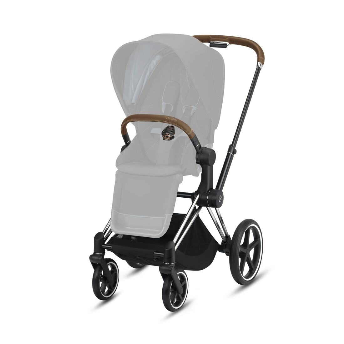 CYBEX Priam Frame - Chrome With Brown Details in Chrome With Brown Details large image number 2