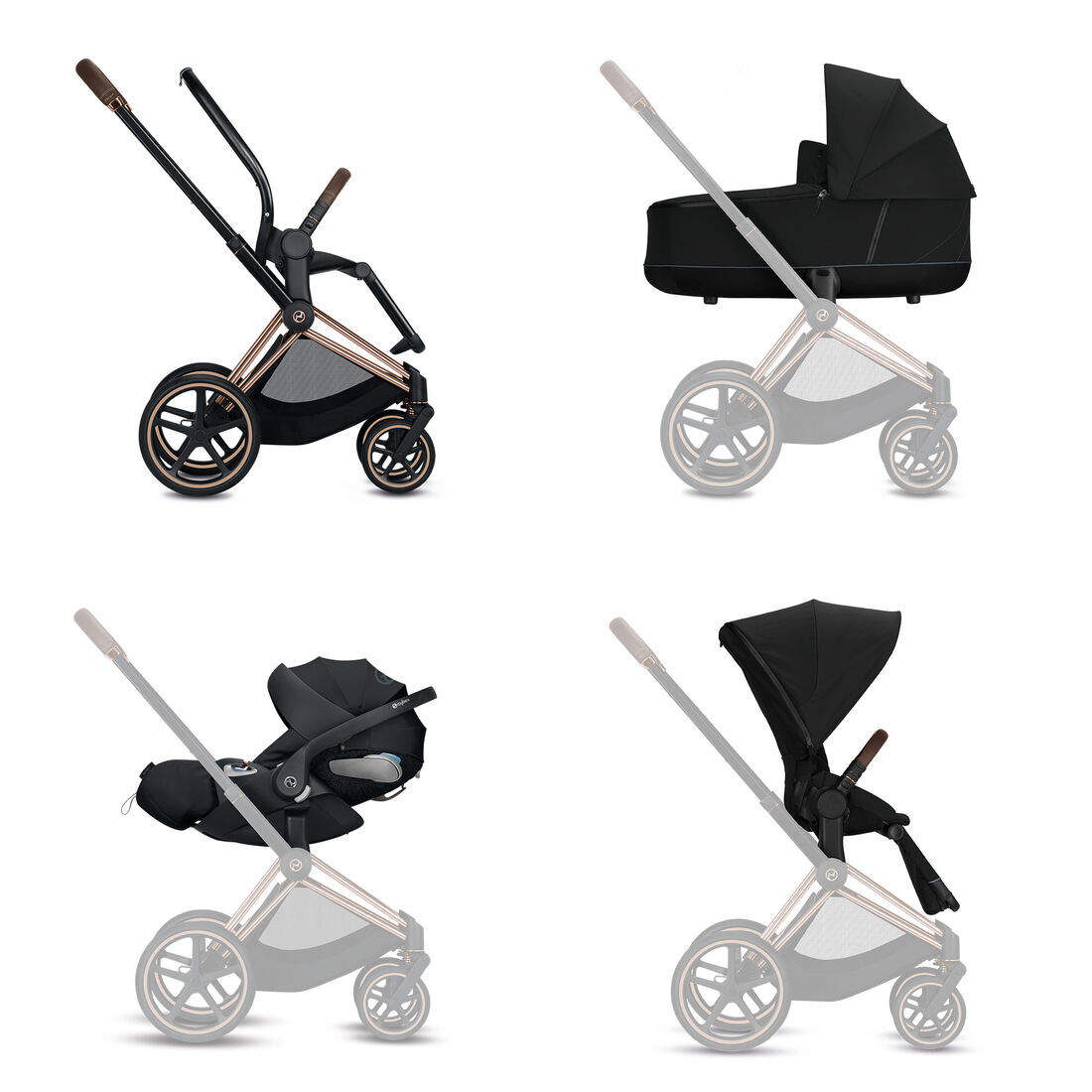 CYBEX Configure Priam Set: Frame, Lux Carry Cot, Cloud Z i-Size, Seat Pack in  large image number 1