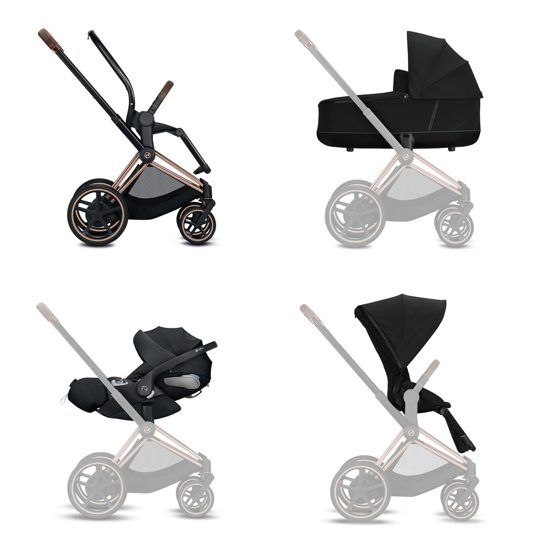 CYBEX Konfiguration e-Priam Set: Rahmen, Lux Carry Cot, Cloud Z i-Size, Sitzpaket in  large Bild 1