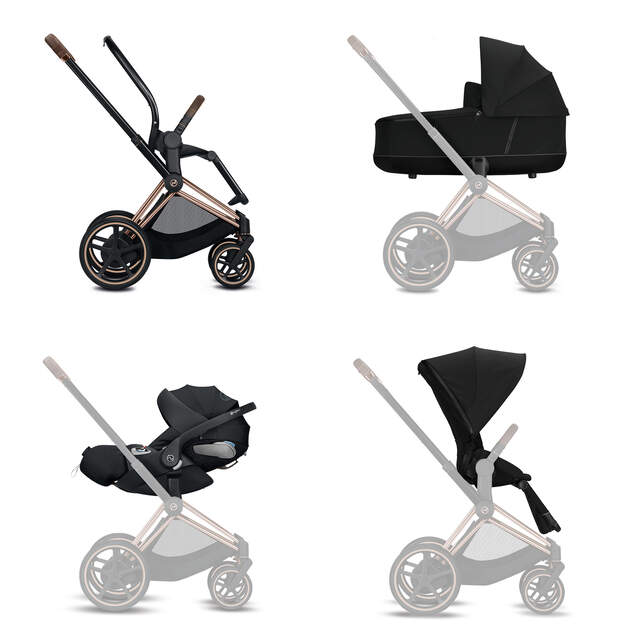 Konfiguration e-Priam Set: Rahmen, Lux Carry Cot, Cloud Z i-Size, Sitzpaket