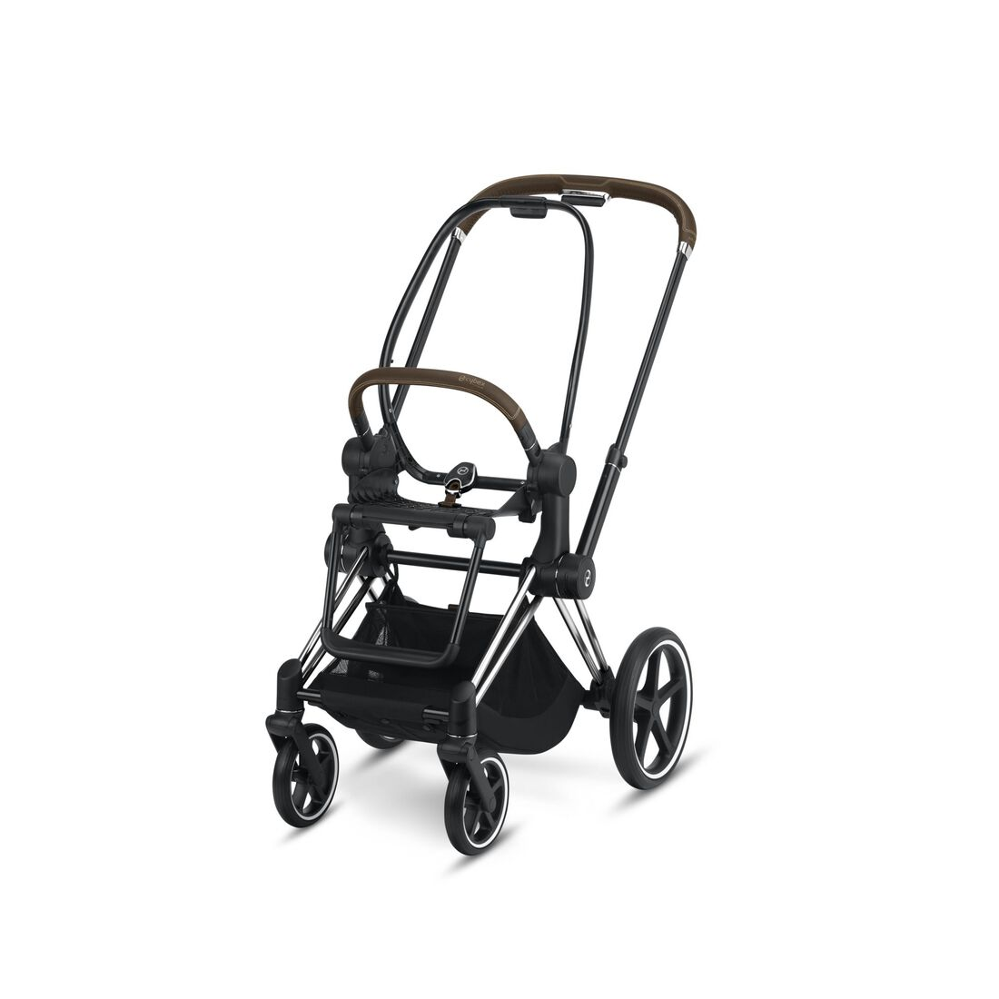 CYBEX Priam Frame - Chrome With Brown Details in Chrome With Brown Details large image number 1