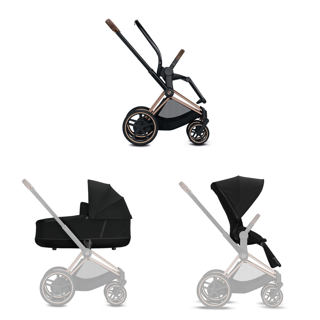 CYBEX Configure e-Priam Set: Frame, Lux Carry Cot, Seat Pack in  large image number 1